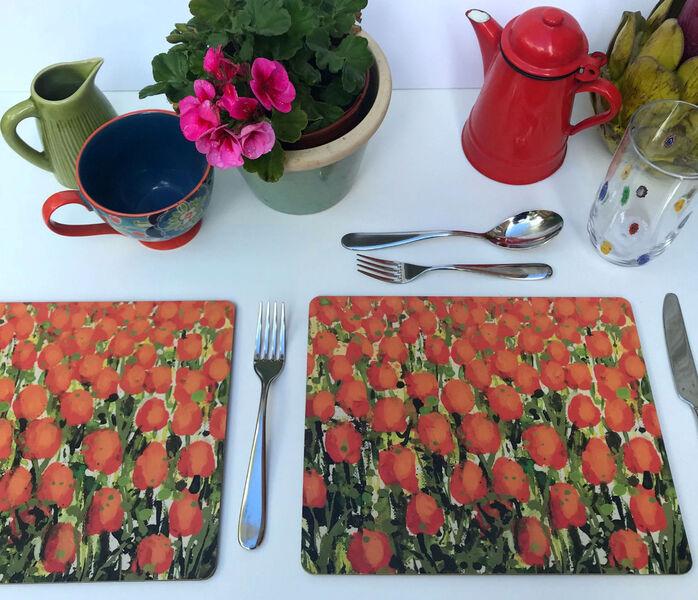 Rectangular Matt finish New Orange Tulips Table mats