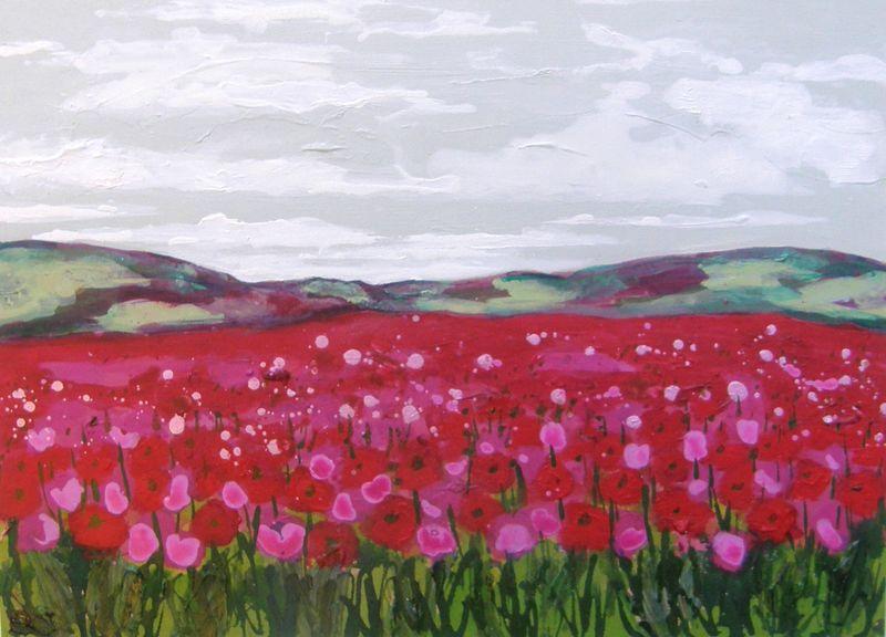 Small Pink Poppyfield III