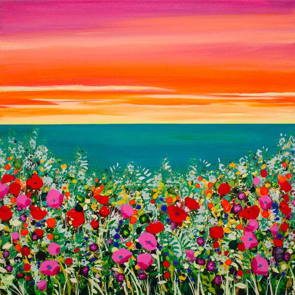 Rainbow Coast Teal Sea Flowers Becca Clegg