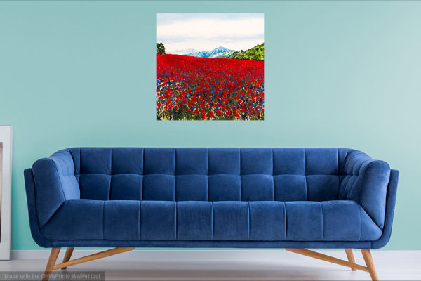 Becca Clegg Red Poppies and Cornflowers Originla acrylic painting 70cm square