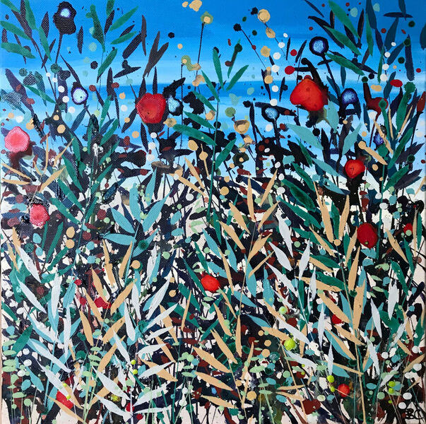 Cromer Grasses Teal Green Red poppies blue sea