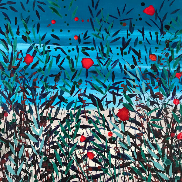 Cromer Grasses Turquoise Teal sea red poppies sand