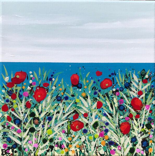 Becca Clegg Small Cromer sea view poppies grasses