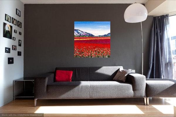 Becca Clegg Stripy Tulip Field 70cm square