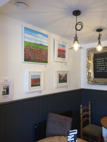 Becca's paintings in Natter Cafe in Farncombe