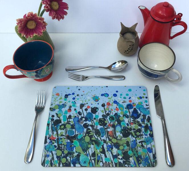 Rectangular Matt finish Pale Blue Dancing Flowers Table mats