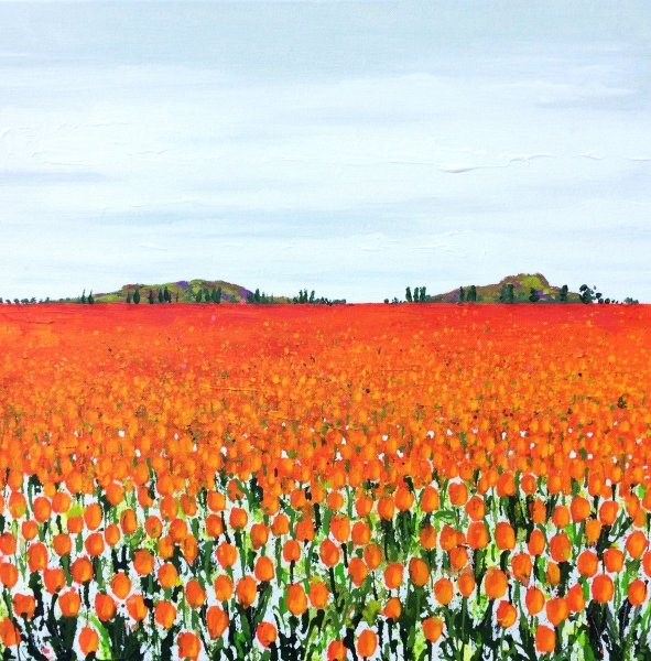 tulips painting orange Becca Clegg Poplars
