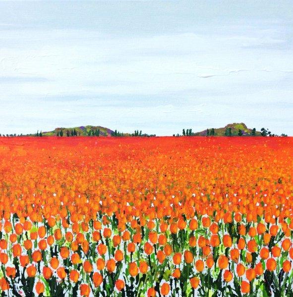 tulips painting orange Becca Clegg Poplars