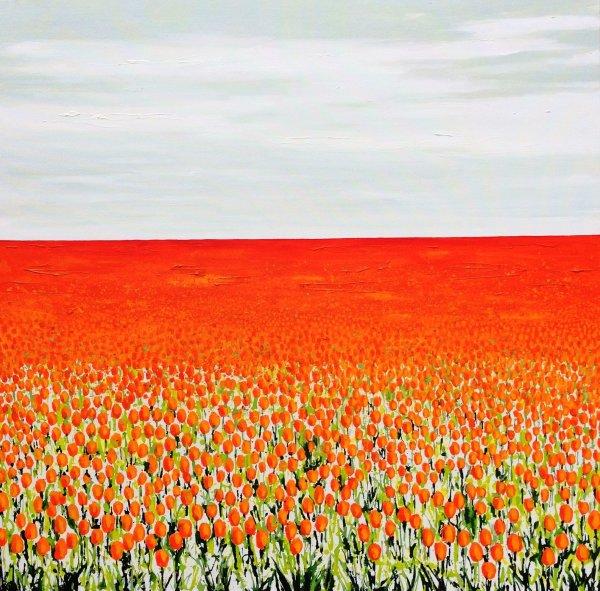 Grey Sky over Orange Tulips