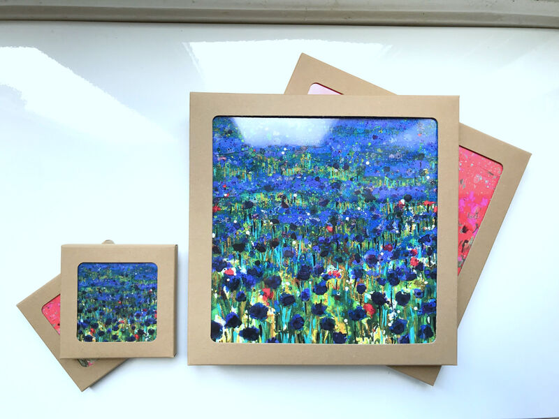 Square Gloss finish Cornflower blue Table mats