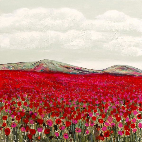 Large Pink Poppyfield Giclee Print