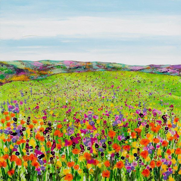 Meadow with Orange Poppies