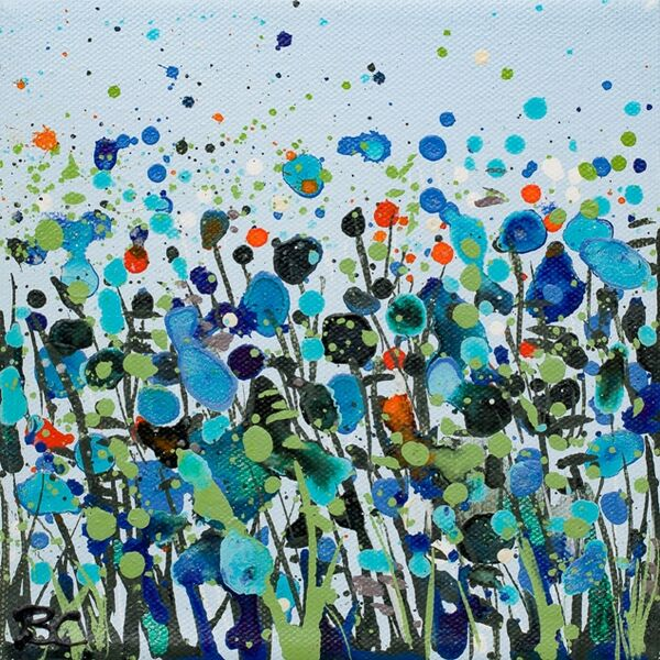 Pale Blue Dancing Flowers Print Becca Clegg