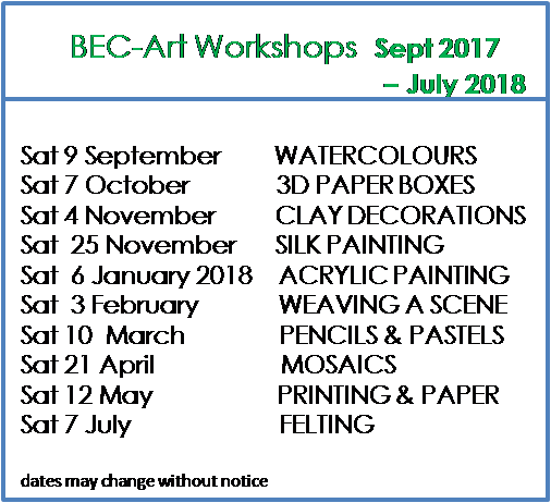 September 2017 - July 2018 - Monthly Workshops
