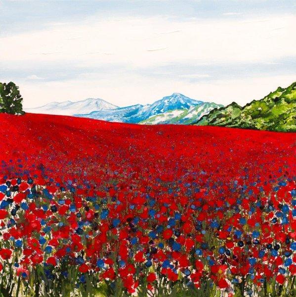 Poppyfield with Cornflowers Giclee Print