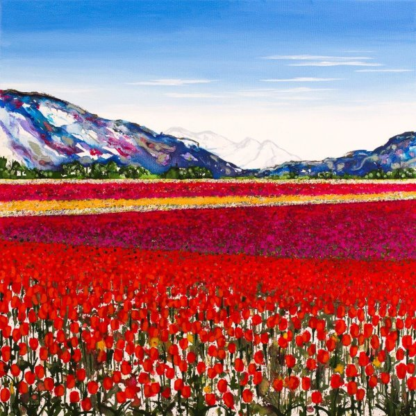 Stripey Tulip Fields Giclee Print
