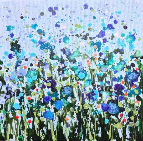 Turquoise Dancing Flowers II