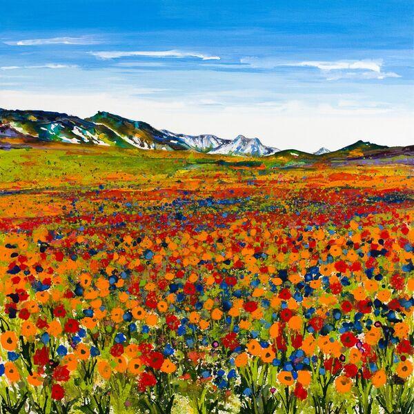 Orange Poppies and cornflowers mountains