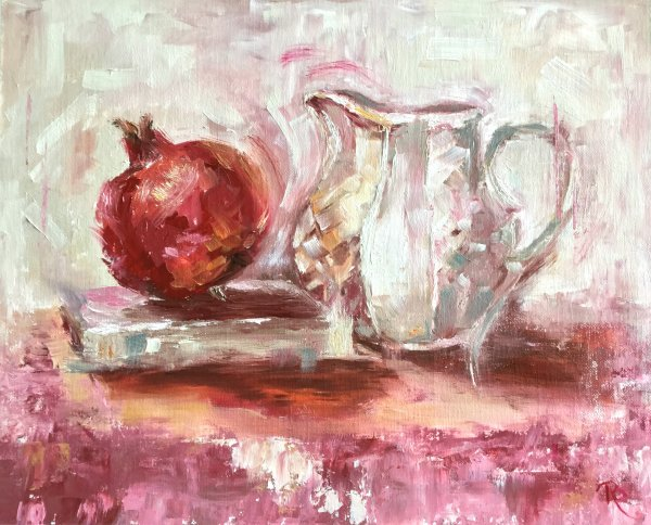 Pomegranate with Poetry & Jug. SOLD
