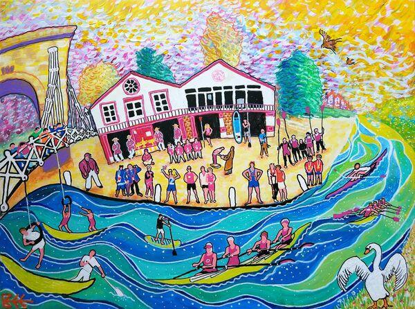 150 Years of Marlow Rowing Club painting by Bee Skelton