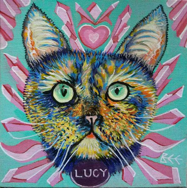 personalised cat portrait by Bee Skelton, custom cat portrait, abstract cat portrait, modern cat portrait,