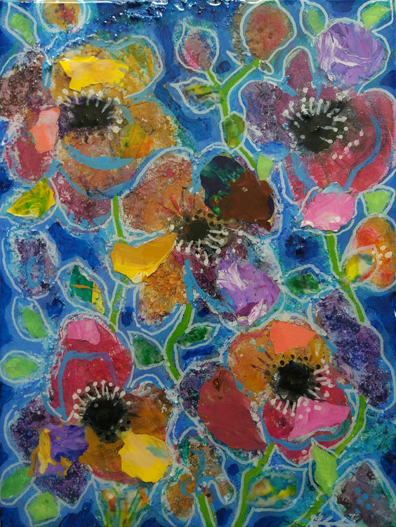 mixed media anemone painting by Bee Skelton