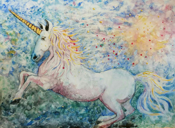 blue unicorn watercolour painting by Bee Skelton