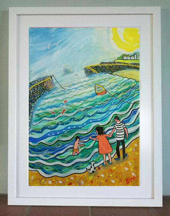By the Seaside contemporary naive art by Bee Skelton