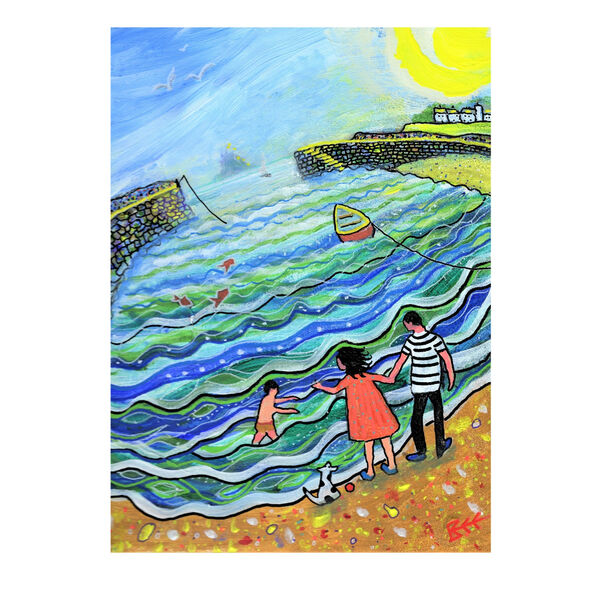 By the Seaside modern naive art by Bee Skelton