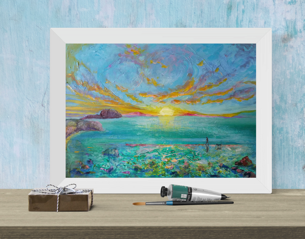 Dawn Patrol - mixed media with gloss resin on canvas.