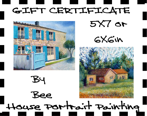 Gift Certificates for original custom house portraits by Bee Skelton