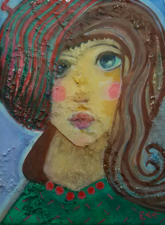 She Had a Gentle Soul, intuitive expressionisht portrait mixed media on canvas with gloss resin surface by Bee Skelton