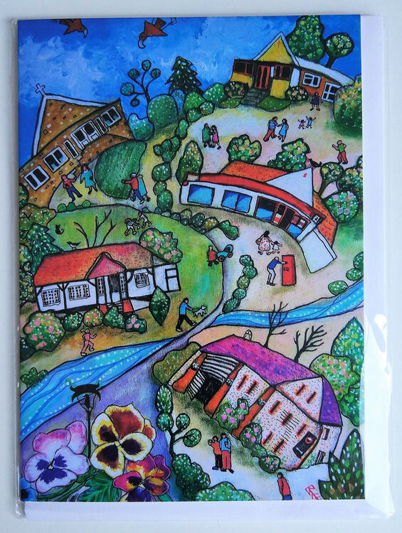 Happy Valley Marlow Bottom blank greeting card from original painting by Bee Skelton