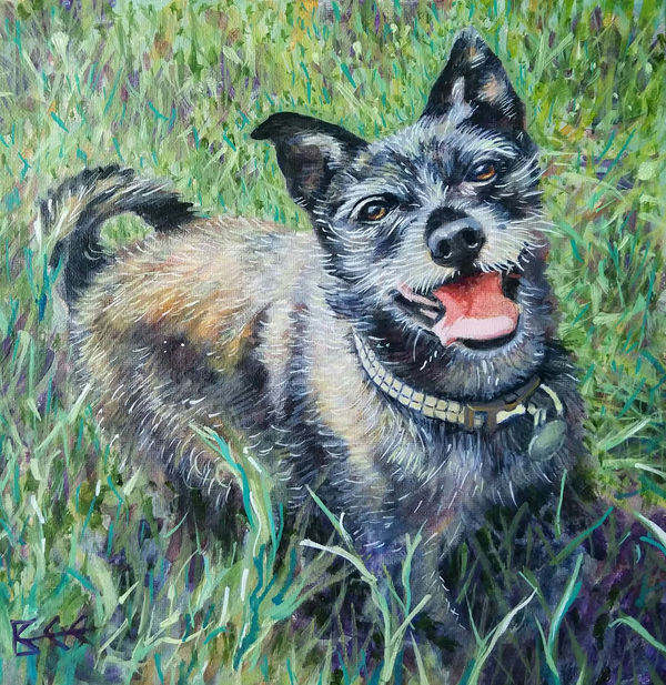 happy dog painting by Bee Skelton