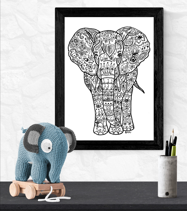 elephant art print by Bee Skelton