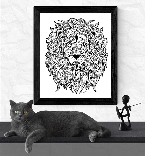 lion art print, Bee Skelton, print on archival paper,