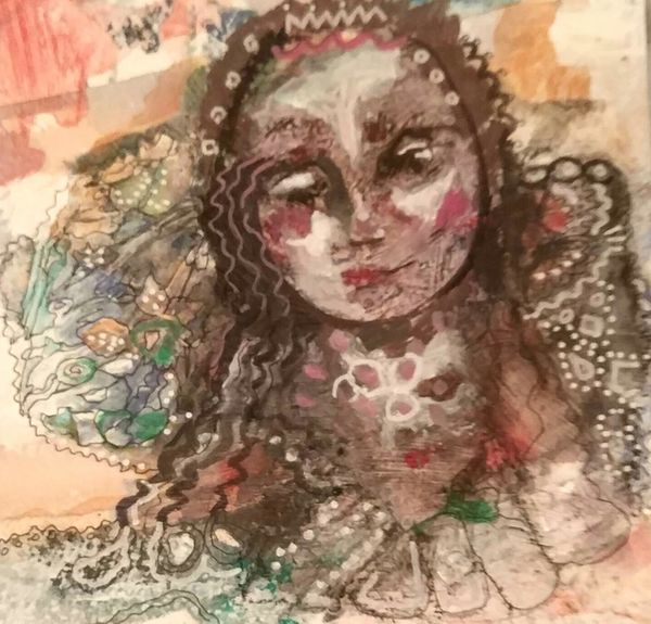 Mixed media on paper by Bee Skelton. She Hoped to Dream of Herb Scented Meadows.