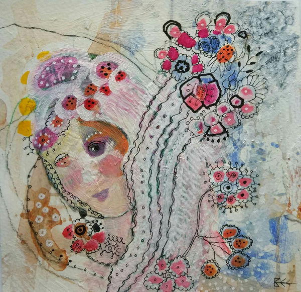 I Knew Her Before she was Someone by Bee Skelton.  Mixed media on paper.
