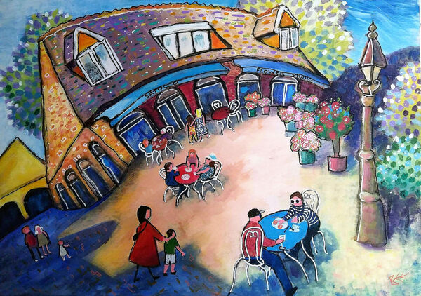 Original painting by Bee Skelton Satollo Cafe and Flower Studio Marlow