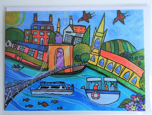 Blank greeting card Marlow Bridge from orignal painting by Bee Skelton