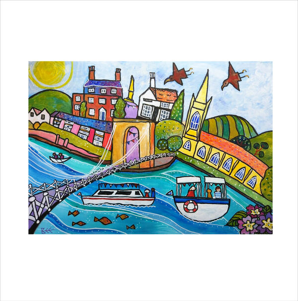 Marlow Bridge over the River Thames, original painting by Bee Skelton