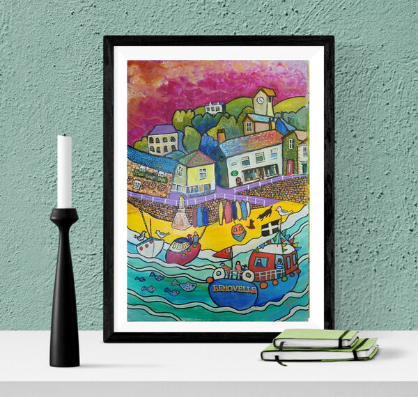 Mousehole Harbour contemporary art by Bee Skelton
