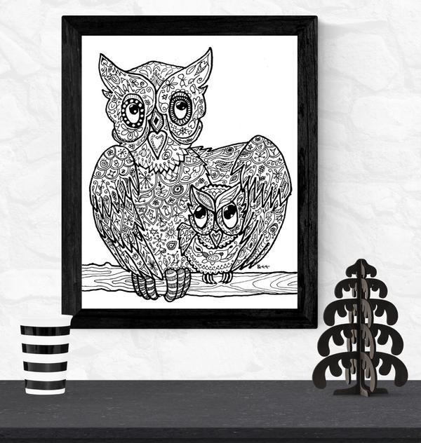 owls artwork by Bee Skelton