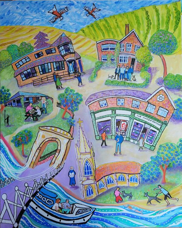 Town and family painting commission by Bee Skelton