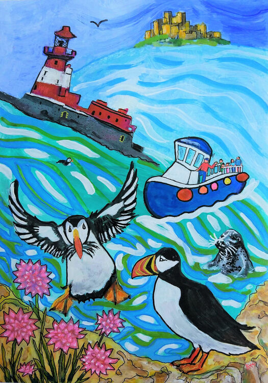 Puffin painting original with Longstone lighhouse and Bamburgh Castle, Farne Islands