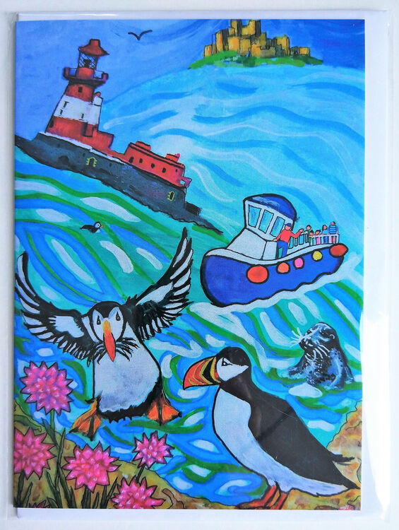 Blank greeting card puffins Farne Islands Longstone Lighthouse Bamburgh Castle seals sea boat trip