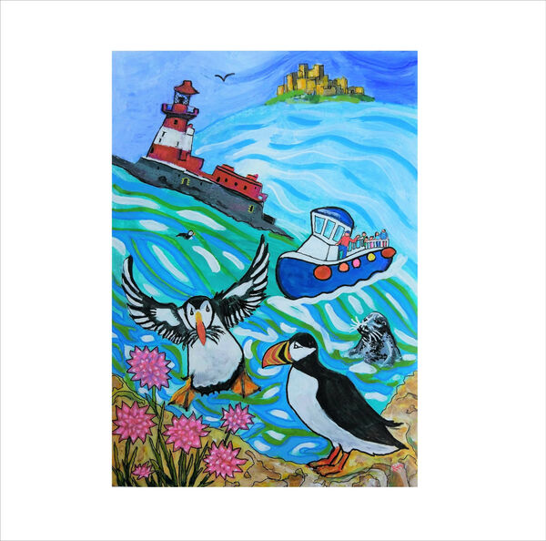 contemporary painting by Bee Skelton - Farne Islands, Banburgh Castle, Longstone Lighthouse, Puffins wild birds.
