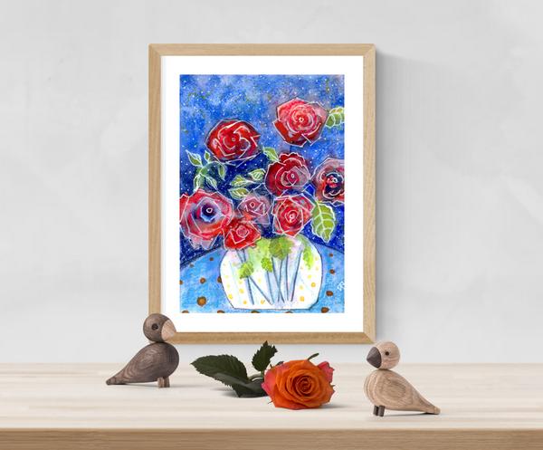 Art print red roses by Bee Skelton