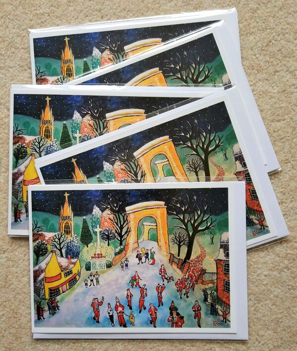 Santa Fun Run Christmas cards by Bee Skelton
