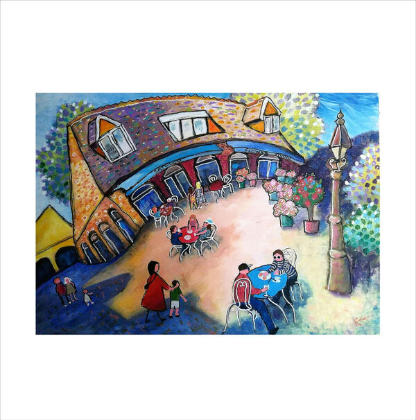 Original painting Satollo Cafe and Flower Studio Marlow by Bee Skelton